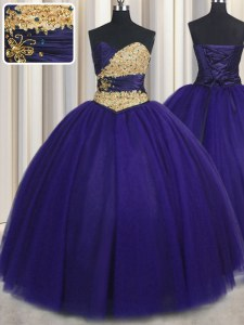 Dramatic Tulle Sweetheart Sleeveless Lace Up Beading and Appliques Sweet 16 Dress in Royal Blue