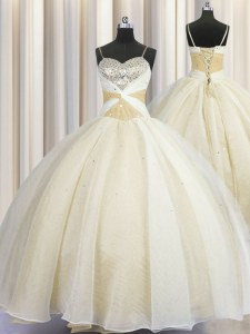 Most Popular Spaghetti Straps Floor Length Ball Gowns Sleeveless Champagne Sweet 16 Quinceanera Dress Lace Up