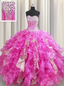 Gorgeous Visible Boning Beading and Ruffles and Sequins Quinceanera Dress Fuchsia Lace Up Sleeveless Floor Length