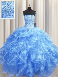 Beauteous Visible Boning Floor Length Baby Blue Quinceanera Dress Strapless Sleeveless Lace Up