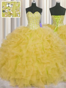 Visible Boning Yellow Ball Gowns Sweetheart Sleeveless Organza Floor Length Lace Up Beading and Ruffles and Sashes ribbons Ball Gown Prom Dress