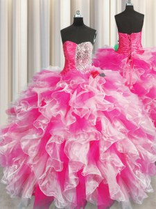 Pink And White Organza Lace Up Sweetheart Sleeveless Floor Length Sweet 16 Dress Beading and Ruffles and Ruching