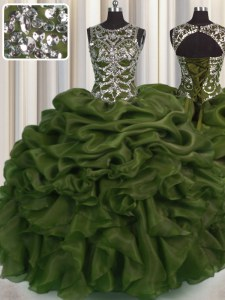 See Through Olive Green Lace Up Scoop Beading and Pick Ups Quinceanera Dress Organza Sleeveless