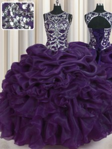 Scoop Dark Purple Organza Lace Up Quince Ball Gowns Sleeveless Floor Length Beading and Pick Ups