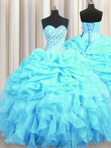 Sleeveless Floor Length Beading and Ruffles and Pick Ups Lace Up Sweet 16 Dress with Aqua Blue