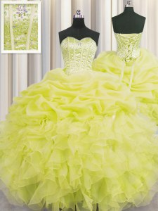 Visible Boning Sleeveless Organza Floor Length Lace Up Ball Gown Prom Dress in Yellow with Beading and Ruffles and Pick Ups