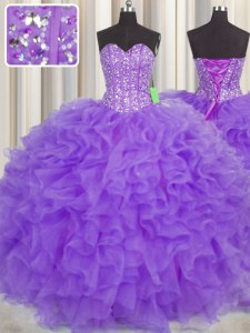 Superior Visible Boning Purple Sleeveless Organza Lace Up 15th Birthday Dress for Military Ball and Sweet 16 and Quinceanera