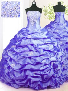 Custom Fit Pick Ups Lavender Sleeveless Taffeta Sweep Train Lace Up Quinceanera Dress for Military Ball and Sweet 16 and Quinceanera