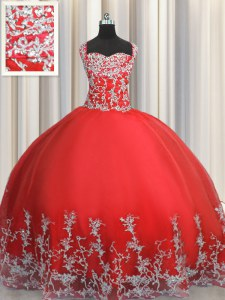 Suitable Coral Red Sleeveless Tulle Lace Up Sweet 16 Quinceanera Dress for Military Ball and Sweet 16 and Quinceanera