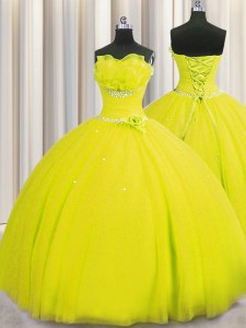 Amazing Handcrafted Flower Yellow Ball Gown Prom Dress Military Ball and Sweet 16 and Quinceanera and For with Beading and Sequins and Hand Made Flower Strapless Sleeveless Lace Up