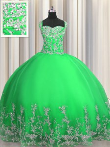 Dynamic Apple Green Tulle Lace Up Vestidos de Quinceanera Sleeveless Floor Length Beading and Appliques