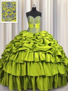 Great Brush Train Beading and Embroidery and Ruffled Layers and Pick Ups Quinceanera Dresses Olive Green Lace Up Sleeveless Floor Length