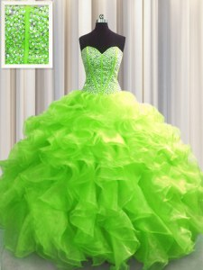 Cute Visible Boning Lace Up 15th Birthday Dress Beading and Ruffles Sleeveless Floor Length