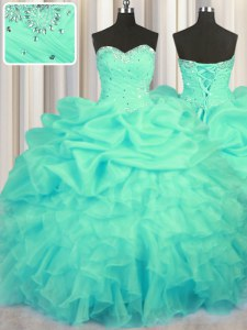 Glamorous Turquoise Ball Gowns Sweetheart Sleeveless Organza Floor Length Lace Up Beading and Ruffles and Ruching and Pick Ups Sweet 16 Dress