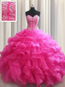 Hot Sale Visible Boning Hot Pink Sleeveless Floor Length Beading and Ruffles Lace Up Sweet 16 Dresses