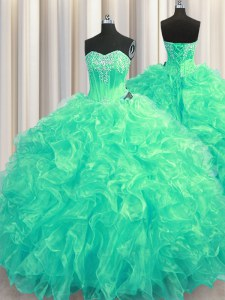 Modest Sleeveless Brush Train Beading and Ruffles Lace Up Quinceanera Gown