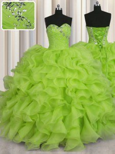 Fashion Organza Lace Up 15th Birthday Dress Sleeveless Floor Length Beading