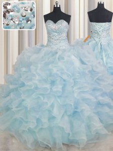 Sleeveless Organza Floor Length Lace Up 15th Birthday Dress in Light Blue with Beading and Ruffles