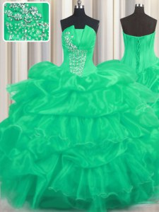 New Arrival Turquoise Lace Up Strapless Beading and Ruffled Layers and Pick Ups Quinceanera Gown Organza Sleeveless