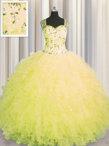 Best Selling See Through Zipper Up Yellow Straps Neckline Beading and Ruffles Quinceanera Dress Sleeveless Zipper