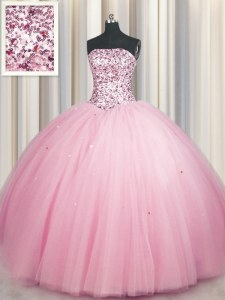 Big Puffy Pink Tulle Lace Up Sweet 16 Dress Sleeveless Floor Length Sequins