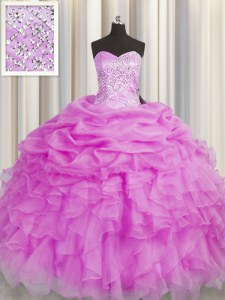 Dazzling Sleeveless Organza Floor Length Lace Up Quinceanera Dresses in Lilac with Beading and Ruffles