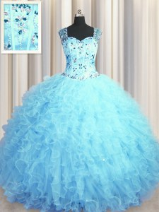 Excellent See Through Zipper Up Tulle Sleeveless Floor Length 15 Quinceanera Dress and Beading and Ruffles