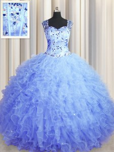 See Through Zipper Up Light Blue Zipper Square Beading and Ruffles Sweet 16 Quinceanera Dress Tulle Sleeveless