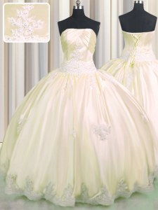 Clearance Champagne Taffeta Lace Up Strapless Sleeveless Floor Length Vestidos de Quinceanera Beading and Appliques