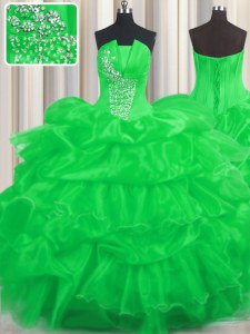 Graceful Green Quince Ball Gowns Military Ball and Sweet 16 and Quinceanera and For with Beading and Ruffled Layers and Pick Ups Strapless Sleeveless Lace Up