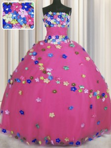 Vintage Strapless Sleeveless Sweet 16 Dresses Floor Length Hand Made Flower Hot Pink Tulle