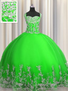 Floor Length Green Quinceanera Dresses Straps Sleeveless Lace Up