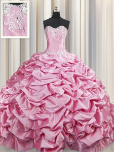 Wonderful Taffeta Sweetheart Sleeveless Brush Train Lace Up Beading and Pick Ups Quinceanera Dress in Rose Pink