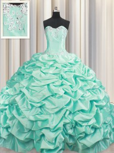 Trendy Brush Train Sweetheart Sleeveless Quinceanera Gown Floor Length Beading and Pick Ups Apple Green Taffeta