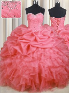 Sleeveless Beading and Ruffles and Ruching and Pick Ups Lace Up Sweet 16 Dresses