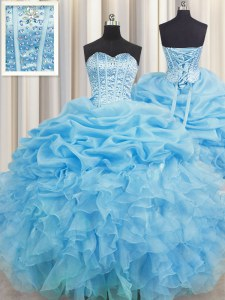 Custom Made Pick Ups Visible Boning Sweetheart Sleeveless Lace Up Quinceanera Gowns Baby Blue Organza