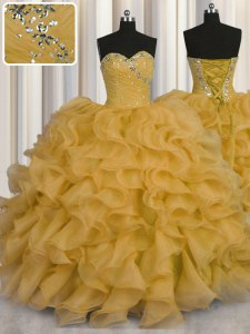 Best Ball Gowns Quinceanera Gowns Gold Sweetheart Organza Sleeveless Floor Length Lace Up