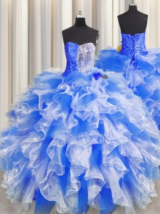 Blue And White Sweetheart Lace Up Beading and Ruffles and Ruching Sweet 16 Dress Sleeveless