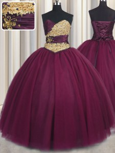 Fabulous Sweetheart Sleeveless Tulle Quinceanera Dresses Beading and Appliques Lace Up