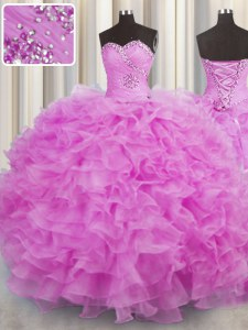 Designer Lilac Lace Up Quince Ball Gowns Beading and Ruffles Sleeveless Floor Length