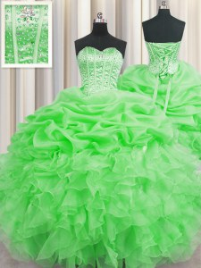 Top Selling Visible Boning Green Sleeveless Floor Length Beading and Ruffles and Pick Ups Lace Up 15th Birthday Dress