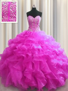 Visible Boning Fuchsia Ball Gowns Sweetheart Sleeveless Organza Floor Length Lace Up Beading and Ruffles 15 Quinceanera Dress