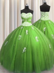 Green Ball Gowns Tulle Sweetheart Sleeveless Beading and Appliques Floor Length Lace Up Quinceanera Gown
