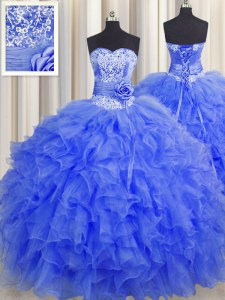 Glittering Handcrafted Flower Sleeveless Floor Length Beading and Ruffles and Hand Made Flower Lace Up Sweet 16 Dress with Royal Blue