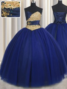 Floor Length Navy Blue Quinceanera Dresses Sweetheart Sleeveless Lace Up