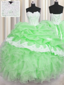 Sweetheart Neckline Beading and Appliques and Ruffles and Pick Ups Ball Gown Prom Dress Sleeveless Lace Up