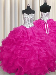 Fuchsia Ball Gowns Sweetheart Sleeveless Organza Lace Up Beading and Ruffles Quinceanera Gown