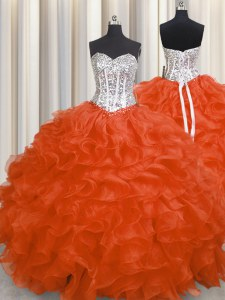Red Lace Up Sweetheart Beading and Ruffles Sweet 16 Dress Organza Sleeveless