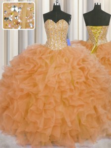 Visible Boning Sweetheart Sleeveless Lace Up Quinceanera Gown Orange Organza