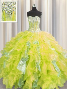 Fashionable Visible Boning Yellow Ball Gowns Sweetheart Sleeveless Organza and Sequined Floor Length Lace Up Beading and Ruffles and Sequins Vestidos de Quinceanera